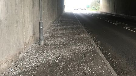 The mess left by pigeons roosting in the bridge in Godmanchester
