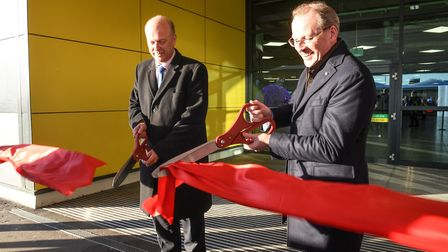 Secretary of State for Transport Chris Grayling opens the upgraded terminal at Luton Airport with CE