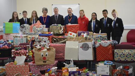 Longsands students and staff with the hampers