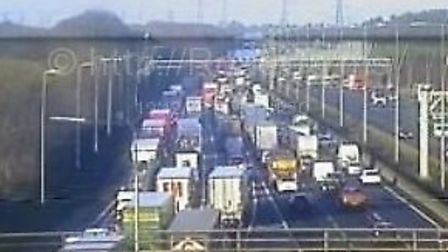 The view from junction 6A of the M1. Picture: www.motorwaycameras.co.uk.