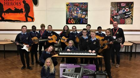St Peter's School pupils with their donated instruments. Picture: CONTRIBUTED