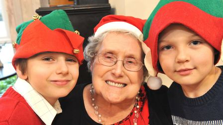 Field Lodge Care Home Christmas Party. June Watson with Sammy Mayes and Taylor Marsh.