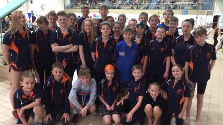 The St Ives Swimming Club squad at the Peterborough Winter Meet.