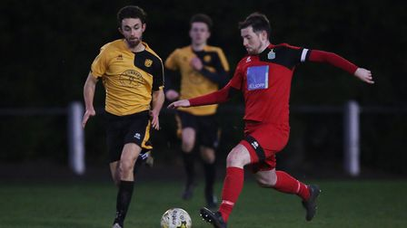 Steve O'Reilly plays a pass forward in the match between Stotfold v Harpenden Town. Picture: DANNY L