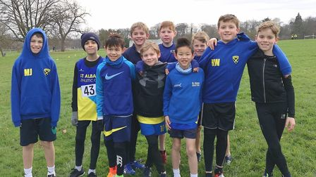 St Albans Athletics Club's U11 boys team at the Herts Cross Country Championships in Verulamium Park