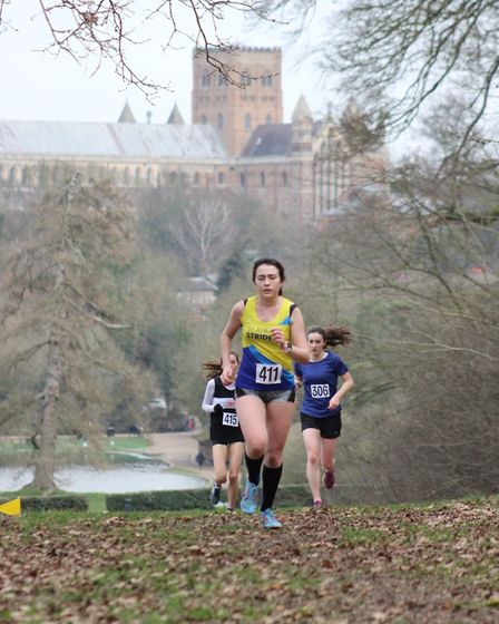 St Albans Athletics Club's Caitlin Eckley at the Herts Cross Country Championships in Verulamium Par