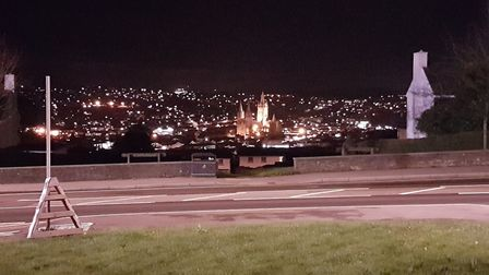 A lit-up Truro Cathedral takes centre stage from the car pack on top of the hill at Treyew Road. Pic