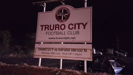 St Albans City were the next visitors toTruro City regardless of what the sign said. Picture: NEIL M