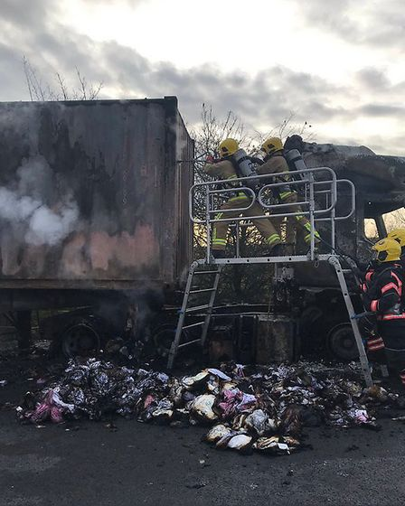 Firefighters from Newmarket have been helping Cambridgeshire colleagues with the blaze. Picture: SFR