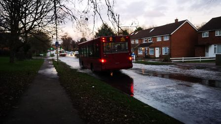 There is a flood on Drakes Drive in St Albans. Picture: Hillary Blake.