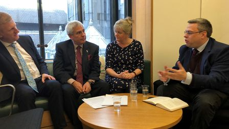 Left to right: Hertsmere MP Oliver Dowden, Claudio Duran, St Albans MP Anne Main, Jock Wright.