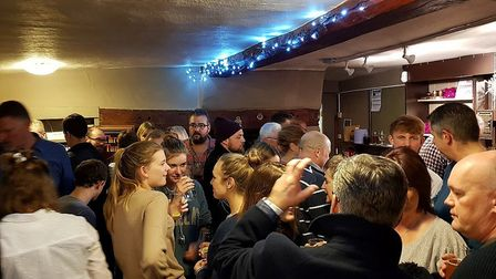 The Three Tuns in Guilden Morden was packed for its pop-up pub evening. Picture: Guilden Morden Comm