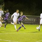 Sam Merson puts St Albans City ahead at Truro. Picture: LEIGH PAGE
