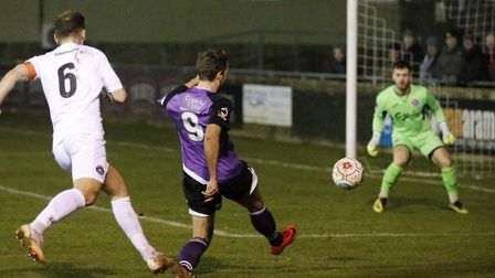 Sam Merson is off target with a strike at goal. Picture: LEIGH PAGE