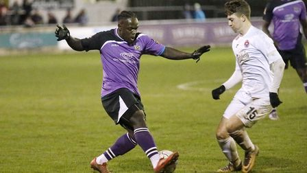 Solomon Sambou in action against Truro City. Picture: LEIGH PAGE