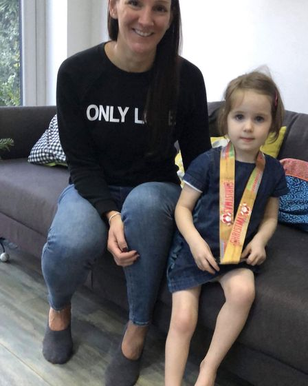 Clare Wallis with three-year-old Isla Austin. Picture: Clare Wallis