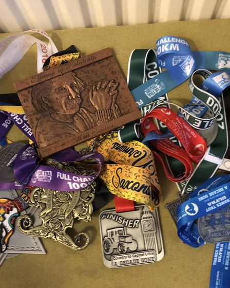 Clare Wallis' medals, after running 12 ultra-marathons during 2018. Picture: Clare Wallis