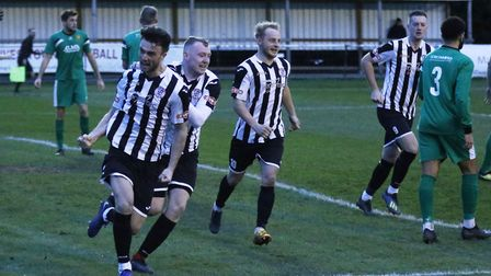 Ben Jackson (left) celebrates his equaliser for St Ives Town early in the second half of their 2-1 v