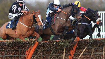 A thrilling finish to the opening Weatherbys Scientific Conditional Jockeys' Handicap Hurdle at Hunt