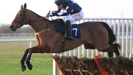 Shanty Alley and Wayne Hutchinson on the way to glory in the EBF National Hunt Maiden Hurdle Race at