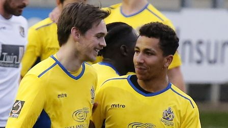 Tom Bender congratulates Zane Banton on his equaliser. Picture: LEIGH PAGE
