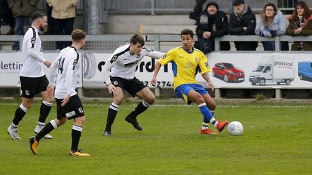 The Dartford defence closes on Zane Banton. Picture: LEIGH PAGE