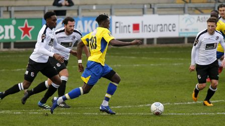 David Moyo tries to find a way through the Dartford defence. Picture: LEIGH PAGE