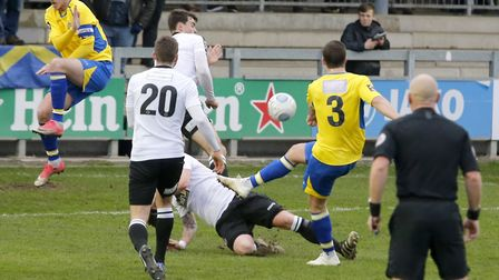 Michael Clark has a shot blocked. Picture: LEIGH PAGE