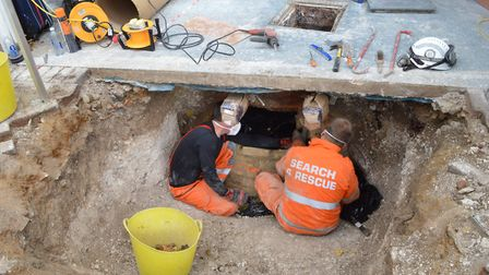 The cesspit police excavated at Ian Stewart's Royston home, where they found Helen Bailey's body and