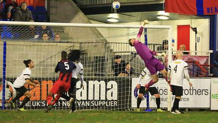 Royston Town's Joe Welch is one of a number of ex-St Albans City players. Picture: Kevin Richards