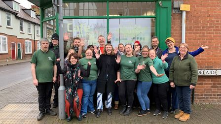 Café on the Corner staff and volunteers with Matt Adams from the Herts Ad, Helen Burridge from St Al