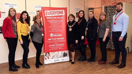 Councillor Sarah Gifford, fourth from left, at the new pop-up shop. Picture: ARCHANT