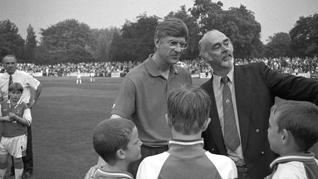 Fred Miniken with then Arsenal manager Arsene Wenger during a pre-season friendly with St Albans Cit