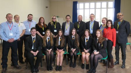 Bassingbourn Year 11s with professionals from local companies. Picture: BVC
