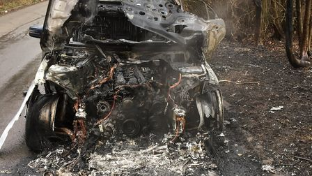 This is the remains of a car in Flamstead, after it was destroyed by flames. Picture: Herts Fire and