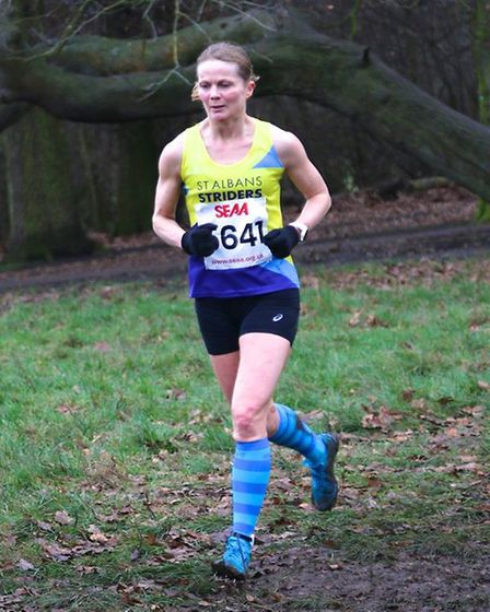 St Albans Striders' Wendy Walsh at the Southern Senior Cross Country Championship. Picture: TONY BAR