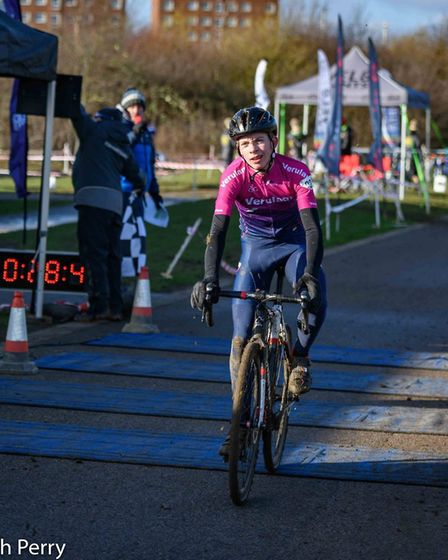 Verulam Reallymoving's Alfie Aldridge was second in the final U16 race of the Central Cyclo-cross Le