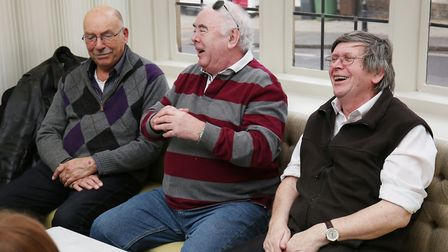 Herts Advertiser reporter Franki Berry speaks with (L-R) Hugh Grundy. artist Terry Quirk and Chris W