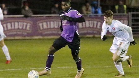 Percy Kiangebeni in action against Truro City earlier in January. Picture: LEIGH PAGE
