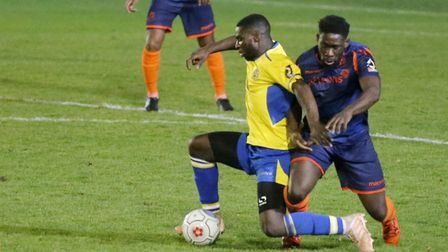 Percy Kiangebeni has left St Albans City after his contract was cancelled. Picture: LEIGH PAGE