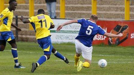 Percy Kiangebeni scores his last goal for St Albans City in a 2-0 home win over Concord Rangers in t