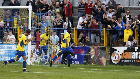 Percy Kiangebeni celebrates after scoring his last goal for St Albans City in a 2-0 home win over Co
