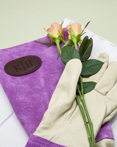 1. Personalised Pink Leather Gardening Gloves, £40, Crocus.co.uk. Picture: Crocus/PA