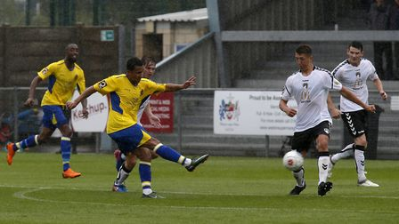 Zane Banton scored twice for St Albans City in the match against Weston-super-Mare at the Woodspring