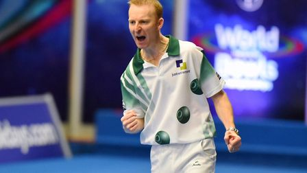 Nicky Brett won his first-round match at the World Indoor Bowls Championships. Picture: JAMES BASS