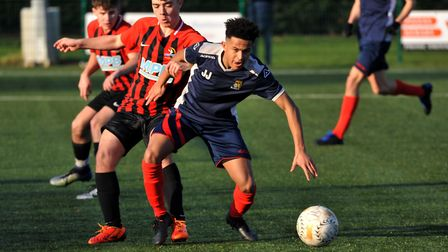Jacob Joseph scored to help St Neots Town Under 18s into the Hunts Cup final. Picture: MARK RIDER