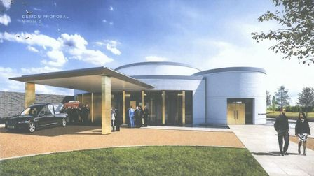 An artist's impression of the new Huntingdon Town Council-backed crematrorium in Kings Ripton
