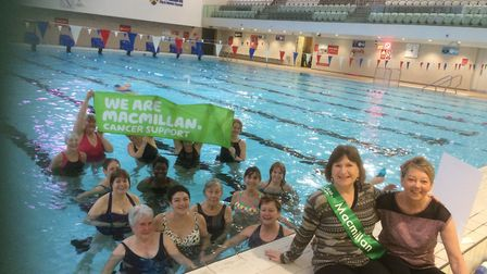 Cathy Tominey and Jo Arnold at Wesminster Lodge leisure centre with their classmates. Picture: Actio