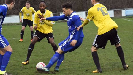 Chris Hyem during Godmanchester Rovers' win against Sporting Khalsa in the FA Vase.