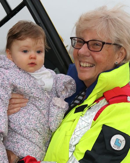 Dr Pam Chrispin with Jessie, the baby she helped to save the life of in Royston. Picture: East Angli